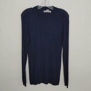 Ryan Harris Silk Mock Turtleneck Navy Shirt